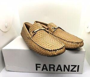 Faranzi F41220 Men's Tan Faux Leather Slip On Loafers Driving Shoes Size 9M