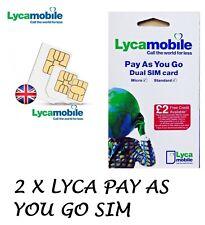 2 x LYCA MOBILE PAY AS YOU GO Trio SIM CARD Standard/Micro/ Nano (Cheap Calls)