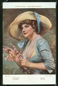 LITHO PC c.1908 MARIE d'EPINAY BEAUTIFUL WOMAN in LARGE HAT with Flowers Signed