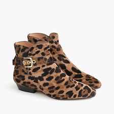 J.Crew Buckle Ankle Boots in Calf Hair #H1883 Brandy Leopard 7M $398