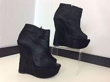 TOPSHOP ASHISH SHOES Black pony Wedge Peep Toe Uk 5 Size 38 Vgc