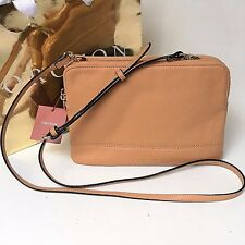 Oroton Bueno Large Double Clutch Crossbody Bag Cedar Leather