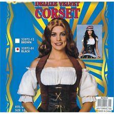 Brown Ladies Velvet Corset - Fancy Dress Costume Medieval Pirate Black Womens