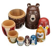 5Pcs Wooden Russian Nesting Dolls Animals Matryoshka Toy Hand Painted Types Gift