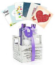 Valentines Lavender Coconut Oil Spa Gift Set, Spa Basket, In Natural Wooden Box