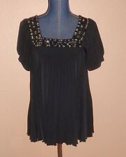 Dressbarn Black Pleated Puff Sleeves Embellished Swing Top Size S NWT