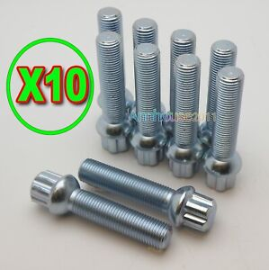 10 EXTENDED LONG ALLOY WHEEL BOLTS M14X1.5 RADIUS TPI 55mm FOR  MERCEDES SPACERS