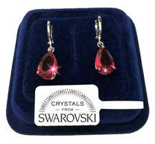 Goccia Orecchini uomo donna pl. oro bianco 18K cristalli swarovski SW7/4 rosa