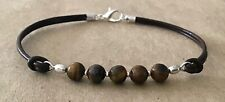 Silver Plated, Charm Friendship Bracelet Tiger'S Eye Beads, Brown Leather Cord,