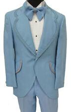 Men's Vintage Light Blue Tuxedo Jacket, Pants, & Bow Tie 1970's Halloween 36L