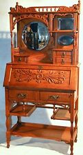 desk, secretary, curio top, solid, curly ash, oak, cowgirl, Aesthetic, c1880,67""