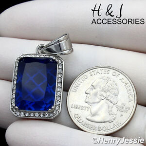 MEN's Stainless Steel CZ Silver Blue Gemstone Charm Pendant*ASP98