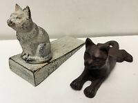 Cast Iron Antique White Cat and Rust Brown Cat Door Stoppers Set of 2 NEW