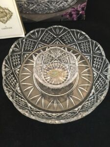 Godinger SHANNON CRYSTAL Dublin 12-Inch Chip and Dip CLEAR GLASS SERVING PLATTER