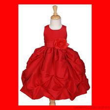RED TAFFETA WEDDING FLOWER GIRL DRESS Christmas Dresses Toddler 2 3 4 5 6 7 8 10