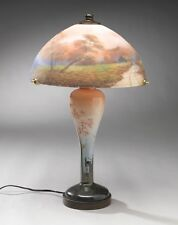 NEW BEAUTIFUL OUTDOOR SCENE REVERSE HAND PAINTED PAIRPOINT SYTLE PUFFY LAMP