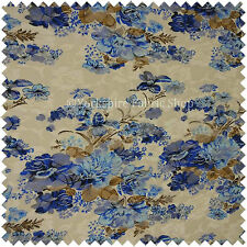 Floral Pattern Printed on Lace White Blue Colour Stretchy Craft Cushion Fabric