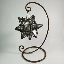 Vintage Moroccan STAR Metal Glass Tea Light Candle Holder Hanging Lantern Lamp