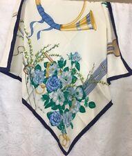 Celine Scarf Square White Floral Print Navy Border Silk