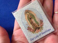 Rare Our Lady of GUADALUPE Mini Saint Medal Rhinestones Folder Prayer Icon