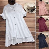 UK 10-24 Women Short Sleeve Casual Loose Long Tops Shirt Short Mini Dress Plus