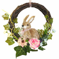 Easter Art Deco Decorations, Room Ornament - Bunny Rattan Wreath with Flowers