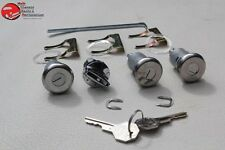 61-64 Chevy Ignition Door Trunk Lock Cylinders w Long Cyl OEM Octagon Head Keys