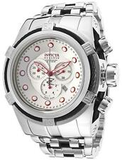 INVICTA MENS 52MM BOLT ZEUS BLACK RED QUARTZ CHRONO SILVER BRACELET WATCH 14064