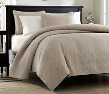 KHAKI TAN MATELASSE 3p Full Queen QUILT SET : BROWN COTTON FILL QUILT COVERLET