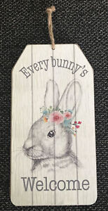 """Easter WELCOME Every Bunny's Bunny Rabbit Hanging Wall Sign Decor 9.5"""" x 4.7"""""""