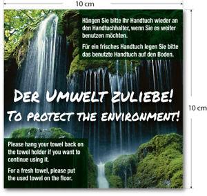 25 Aufkleber Sticker 10cm Handtuchwechsel der Umwelt zuliebe Hotel inkl. Versand