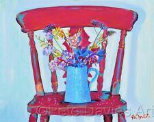 "ORIGINAL PETE DAVIES ""Shabby Chic Chair"" flower Wild flowers OIL CANVAS PAINTING"