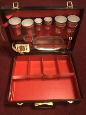 Vintage Travel Bar Suitcase. Black With Red Interior. Adjustable Straps