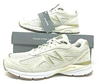 """New Balance 990 Mens Running Shoes Suede Off White/Gold """"Made in USA"""" M990AG4"""