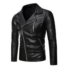 Mens Faux Leather Jacket Long sleeve Motorcycle Outwear Biker Lapel Collar New L