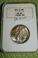 #A1375,Silver Walking Liberty NGC 1945 S MS 65