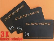 3 X CLONE SAFE®️ RFID & NFC Wireless Credit Card Illegal Reader Shield - Blocker