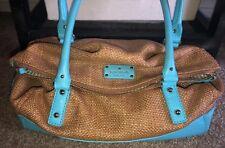 Kate Spade Turquoise Cobble Hill Leslie Straw Leather Foldover Shoulder Bag #222