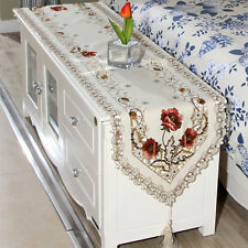 Dining Table Runner Embroidered Flower Tassel Cutwork Home Decorative Cover AU