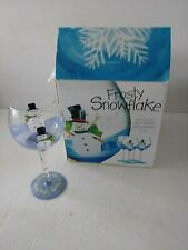4 Home Essentials Frosty Snowflake Hand Painted Wine Goblets  New In Box 16 oz