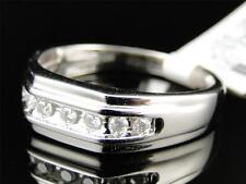 Mens 10k White Gold Genuine Diamond Channel Set Wedding Engagement Band Ring