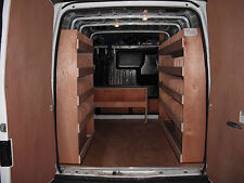 van Racking, van shelving, in plywood or steel framed with plywood.