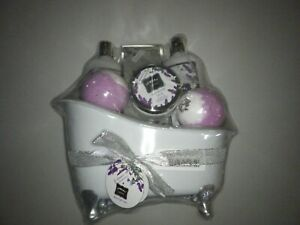 Bath Gift Basket Set for Women: Relaxing at Home Spa Kit Scented with Lavender