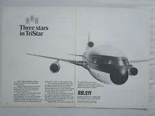 12/1970 PUB ROLLS-ROYCE RB.211 ENGINES LOCKHEED TRISTAR AIRLINER ORIGINAL AD