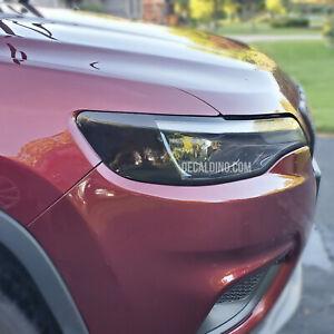 Fits 2019+ Jeep Cherokee Headlight Reflector Dark Tint Overlay - Smoke Front