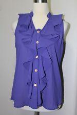 NEW Charming Charlie Purple S Ruffle Chiffon Button up Blouse Top Shirt