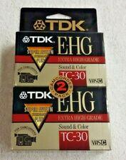 TDK 2 Pack VHS-C Camcorder Tapes TC-30 E-HG Super Avilyn NEW