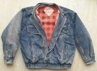 Blue Denim WRANGLER jean jacket red black padded warm lining size M VINTAGE 80S