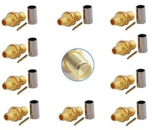 RP SMA Female crimp x 10 for RG58 cable (female with male pin)               807