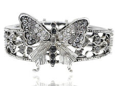 Silver Tone Retro Crystal Rhinestone Butterfly Bracelet Bangle Cuff Cute Jewelry